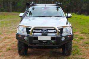 Front view of a Ford Ranger fitted with an Ironman Protector Bullbar, Winch and Snorkel