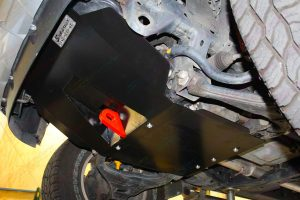 Closeup view of the Superior Engine Guard and Rated Recovery Point fitted to the front underside of the Ford Ranger