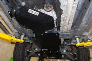 Closeup view of Superior Transfer Case Guard fitted to the underside of the Ford Ranger covering the entire Transfer Case