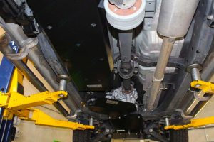 Closeup view of Superior Fuel Tank Guard fitted to the underside of the Ford Ranger protecting the factory plastic tank