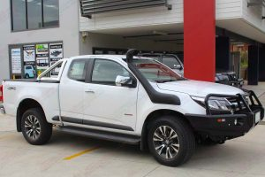 Right side view of a Holden Colorado Space Cab fitted with a new Ironman 4x4 Bullbar and Airforce Snorkel