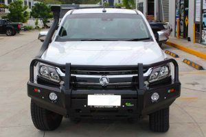 Front view of the Ironman Black Deluxe Bullbar and Snorkel fitted to the Holden Colorado Space Cab 4WD