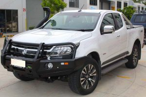 Front left view of a white Holden Colorado Space Cab fitted with a Ironman 4x4 Black Deluxe Bullbar and Airforce Snorkel