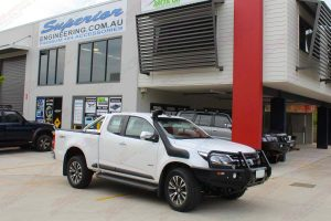 The Holden Colorado Space Cab in front of the Supeior 4wd super centre fitted with the Ironman 4x4 Black Deluxe Bullbar and Airforce Snorkel