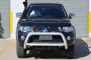 Front view of the ML Triton (Dual Cab) fitted with an Ironman 4x4 Bullbar and Ironman 4x4 Airforce Snorkel