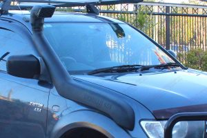 Closeup view of the Ironman 4x4 Airforce Snorkel fitted to the MN Triton