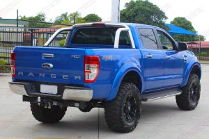 "Rear right end view of the Ford Ranger (Dual Cab) fitted with a custom built Superior 5"" inch lift kit at the Deception Bay 4wd retail store"