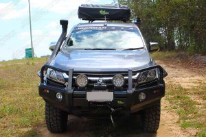 Full front view of an Ironman bullbar, driving lights, snorkel, side steps, rails, roof tent and canopy fitted to the RG Holden Colorado (Dual Cab) Ute
