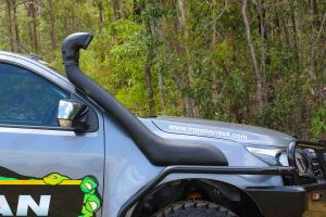 Closeup view of the Ironman Snorkel fitted to the front of the Holden Colorado