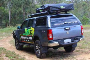 Rear left end view of the RG Holden Colorado (dual cab) fitted out with a complete range of Ironman 4x4 accessories and camping gear