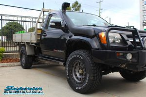 Right side view of the Single Cab RC Holden Colorado ute showing the Superior Stealth rock sliders after fitting
