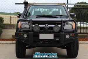 Front view of the Single Cab RC Holden Colorado ute showing the Ironman 4x4 monster winch and a pair of Ironman 4x4 7 Inch Blast Combo LED Lights after fitment