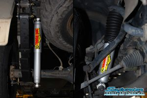 Closeup view of the Tough Dog shocks, leaf springs and shackle fitted to the Holden Colorado ute