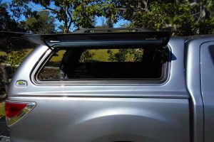 Right side view of the Ironman Ute Canopy with all the canopy windows open fitted to the Mazda BT-50