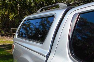 Side view of the Silver Ironman 4x4 thermoplas canopy fitted to the rear style side tray of the Mazda BT-50 Dual Cab ute