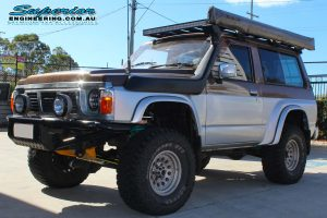 Front left view of the GQ Nissan Patrol (SWB) after fitting the 3 inch Superior Remote Reservoir Hybrid Superflex Lift Kit and other Superior steering components