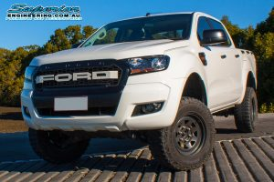 Front view of a white Ford Ranger PX after being fitted with a 3 inch Superior Nitro Gas lift kit at the Superior Engineering Burpengary workshop
