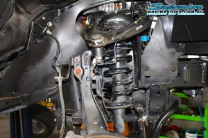 A Superior alloy strut spacer fitted to the Ford Ranger PX11 (Extra Cab) on the hoist at the Superior Engineering Deception Bay 4wd workshop
