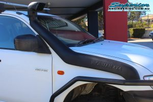 Closeup view of an Ironman 4x4 Snorkel fitted to a dual cab Mitsubishi Triton four wheel drive vehicle at the Deception Bay Retail Store