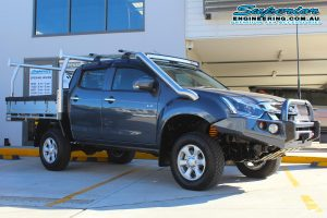 Right side view of the dual cab Isuzu D-Max four wheel drive ute after being fitted with a range of 4x4 accessories and a new suspension system at the Superior Engineering 4wd showroom