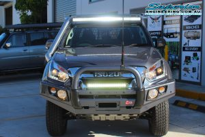 Front view of the dual cab Isuzu D-Max four wheel drive ute after being fitted with a Dobinson LED light bar, Ironman led lightbar, GME antenna, Ironman 4x4 underguard and MCC 4x4 bull bar + more
