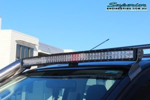 Closeup view of a 50 inch Curved Dobinsons LED Lightbar fitted to a dual cab Isuzu D-Max at the Superior Engineering 4wd retail showroom carpark