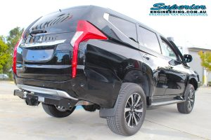 Rear right end view of a new Mitsubishi Pajero Sport Wagon fitted with a 40mm Ironman 4x4 Lift Kit at the Deception Bay 4x4 Showroom