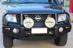 Front view of the Ironman Black Deluxe Commercial Bullbar fitted to the Nissan Navara D40 at the Superior Engineering 4x4 car park