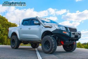 Front right view of the silver NP300 Nissan Navara (dual cab) after fitting a complete lift kit by Superior Engineering at Burpengary