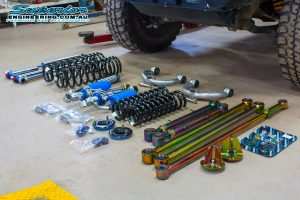 Closeup view of all the components which make up the suspension kit from Superior Engineering custom built to suit the NP300 Nissan Navara