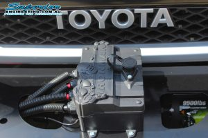 Closeup view of a Toyota FJ Cruiser fitted with an Ironman 4x4 950lbs Monster Winch at the Deception Bay 4WD Retail Showroom