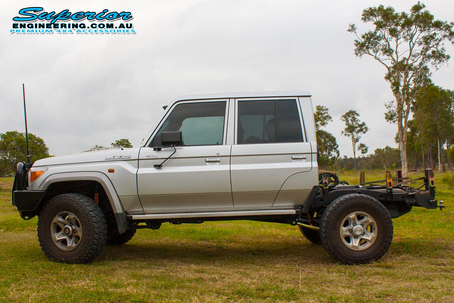 Left side view of the 79 Series Toyota Landcruiser dual cab after fitting a Superior Engineering Coil Conversion Kit
