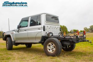 Left rear end view of the 79 Series Toyota Landcruiser dual cab after fitting a Superior Engineering Coil Conversion Kit at their main Burpengary warehouse