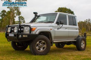 Front left view of the 79 Series Toyota Landcruiser dual cab after fitting a Superior Engineering Coil Conversion Kit at their main Burpengary warehouse
