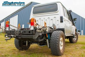 Full rear end view of the 79 Series Toyota Landcruiser dual cab after fitting a Superior Engineering Coil Conversion Kit at the main Burpengary workshop