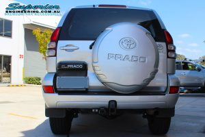 Rear view of a 120 Prado after fitting the 2 inch Bilstein lift kit and Airbag man coil air kit