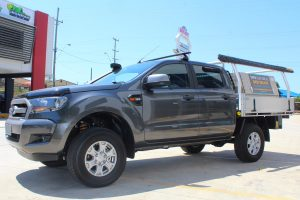 Front left view of a grey Dual Cab PX Ford Ranger fitted with a heavy duty 40mm Tough Dog lift kit at the Superior Engineering Deception Bay 4x4 showroom