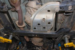 Closeup under vehicle view of a pair of EFS torsion bars fitted to the Mazda BT-50 Extra Cab