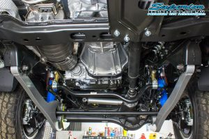 Closeup underside view of a set of Superior Superflex Arms fitted to the front of the 79 Series Toyota Landcruiser - New Curved Arms