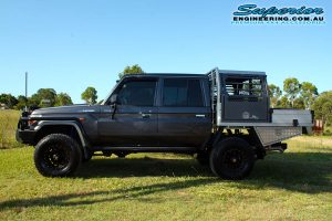 Left side view of a dual cab 79 Series Toyota Landcruiser after fitting the 2 inch Superior Nitro Gas Lift Kit + Allied Wheels