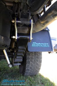 Rear view of the EFS Leaf Spring, Greasable Shackle with Superior Mudflaps