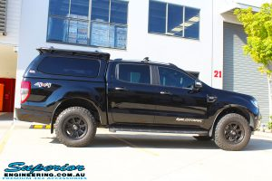 "Right side view of a Black Ford PX Ranger Dual Cab before fitting a 2"" inch lift with EFS Coil & Leaf Springs with Bilstein Rear Shock & Front Strut"