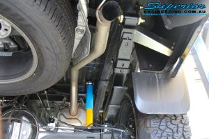 Rear right underbody view of the EFS Leaf Spring with Bilstein Shock