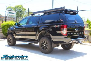 """Rear left view of a Black Ford PX Ranger Dual Cab after fitting a 2"""" inch lift with EFS Coil & Leaf Springs with Bilstein Rear Shock & Front Strut"""