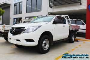 Front right view of a Mazda BT50 Freestyle Cab before fitment of a Black Ironman 4x4 Commercial Bullbar