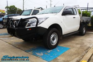 Front right view of a Mazda BT50 Freestyle Cab after fitting of a Black Ironman 4x4 Commercial Bullbar