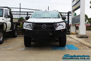 Front view of a Mazda BT50 Freestyle Cab after fitting of a Black Ironman 4x4 Commercial Bullbar