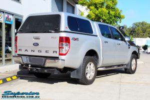 """Rear right view of a Silver Ford PX Ranger before fitment of a Bilstein 2"""" Inch Lift Kit + Airbag Man Leaf Air Kit"""
