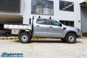 Right side view of a Silver Ford PX Ranger before fitment of a EFS 40mm Lift Kit