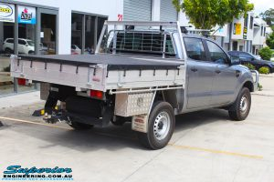 Rear right view of a Silver Ford PX Ranger before fitment of a EFS 40mm Lift Kit
